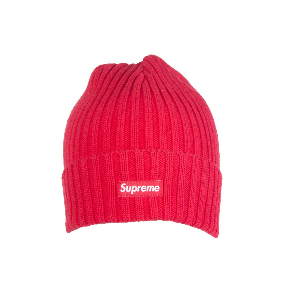 0fcf1702d1e SUPREME Beanie Cap One Size Red Ribbed Knit Logo Patch Turn Up Edge   fashion