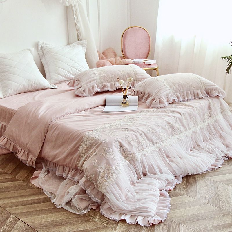 Pink White Wathet Luxury Lace Embroidery Egyptian Cotton Bedding Set Duvet Cover Bed Linen Bed Sheet Bed Skirt Pillowcases 4pcs Bedding Coverbed Beddingsets Dengan Gambar