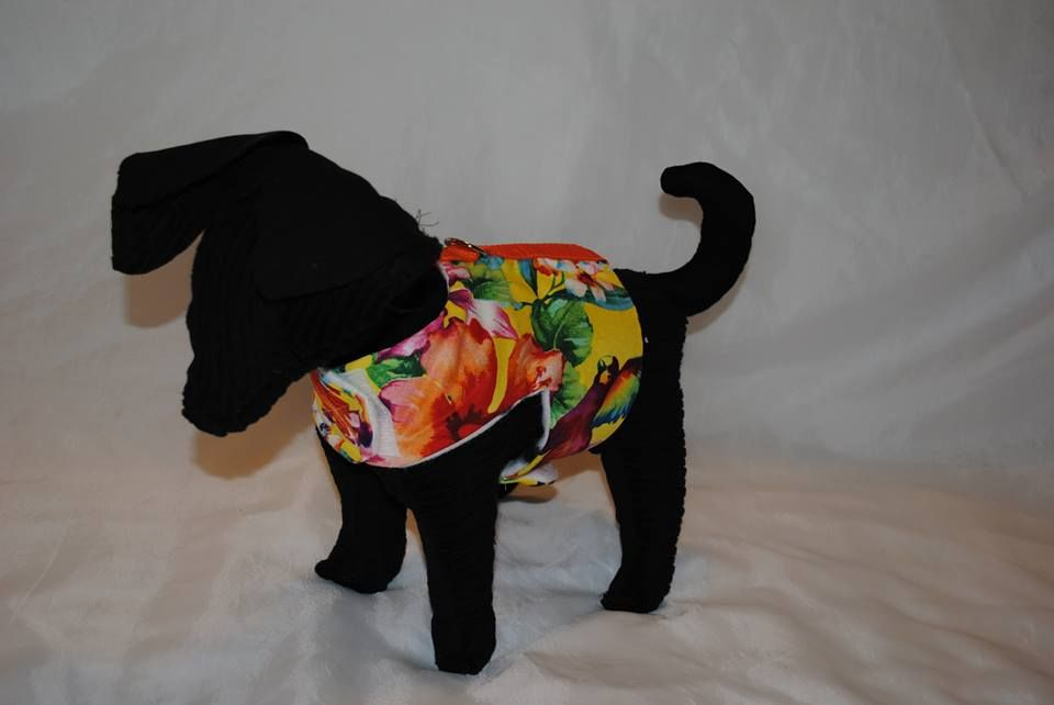 *Hawaiian Breeze* Our Hawaiian Breeze print is a real hit with our coastal customers! From our Cuddle Collection, this harness features our standard double-stitched D-ring, extra-strength Velcro closures and soft paw-print fleece lining. Bring the tropical vacation to YOUR pup with this vibrant, happy print!