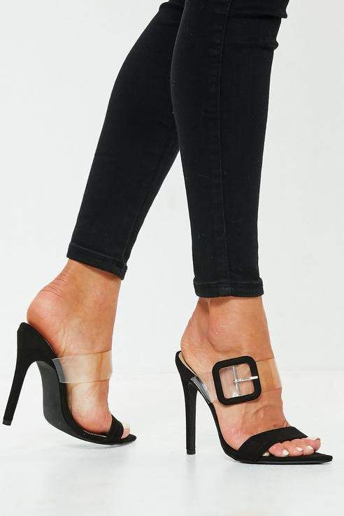 f671d8edaf4 Missguided Black Buckle Clear Mule Heels | Products in 2019 | Heeled ...