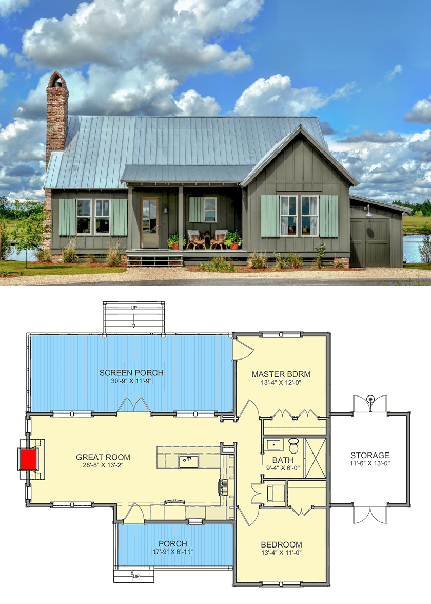 Plan 130030lls Charming 2 Bed Cottage With Screened Porch Cottage Floor Plans Small House Floor Plans Lake House Plans