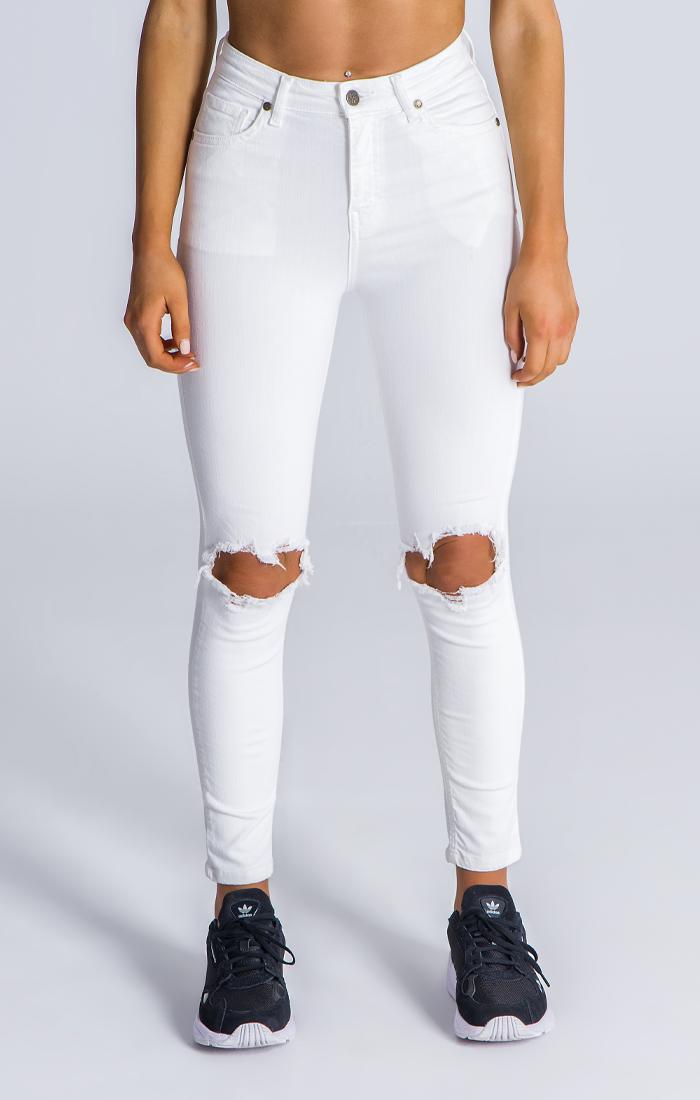 White Signatue Ripped Jeans Pantalones Rasgados De Hombre Vaqueros Rotos Pantalones Estampados