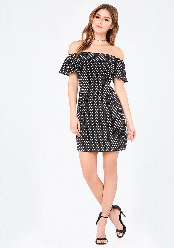5768aa3b926 bebe Off Shoulder A-Line Dress