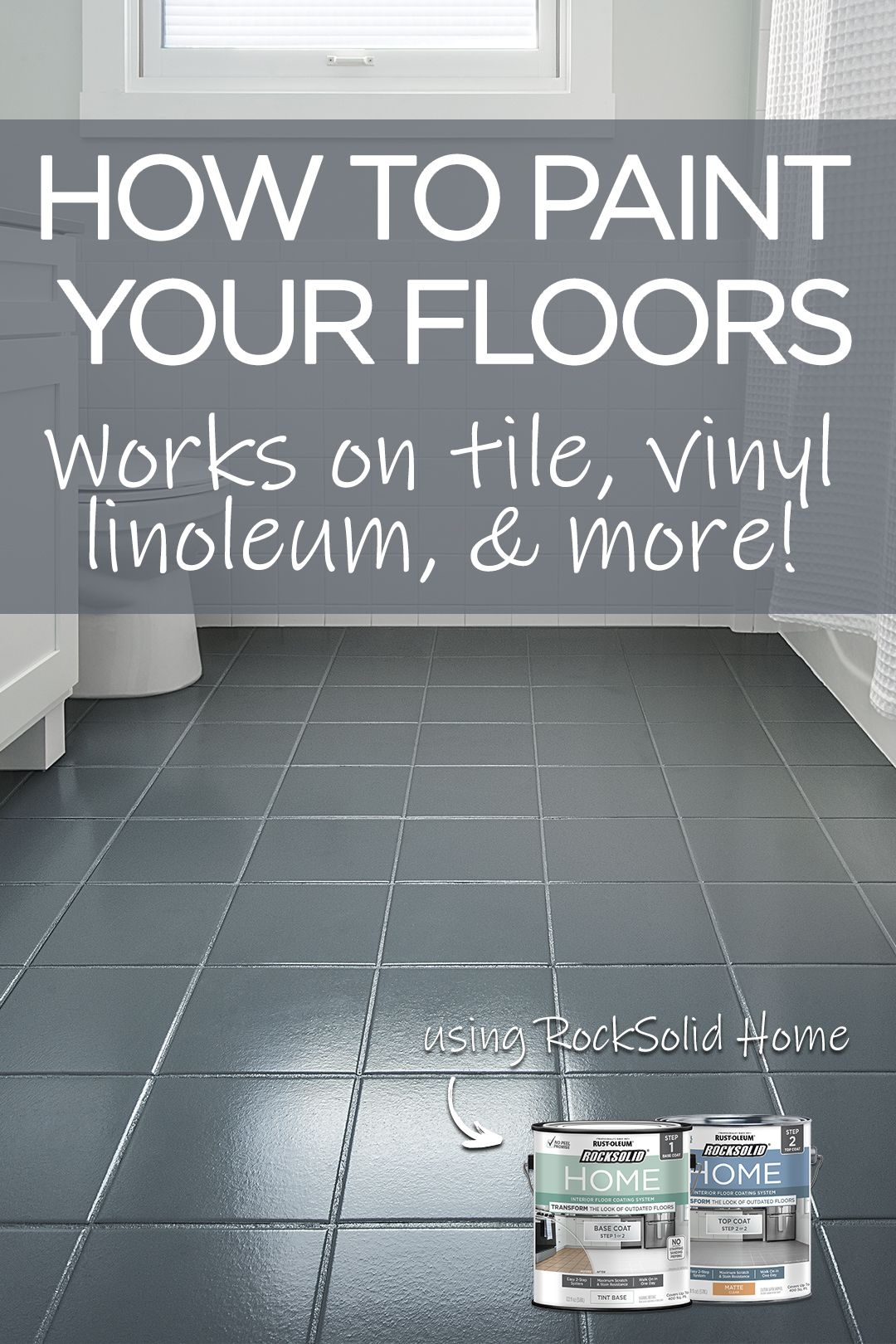 Transform Your Bathroom In A Day By Painting Your Floor Give Your Bathroom Floor New Life With This Easy And Inexpe Diy Flooring Painting Tile Floors Flooring