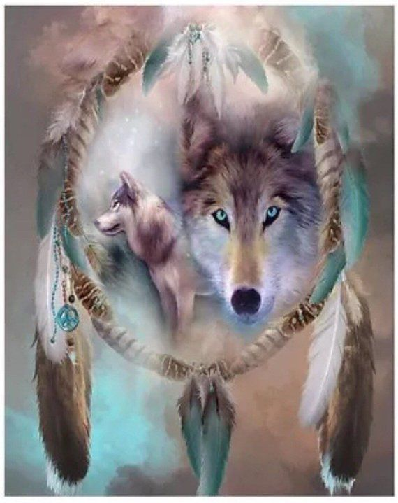 Paint by Number Kit - Tribal Dream Catcher, Wolves, Wolf ...