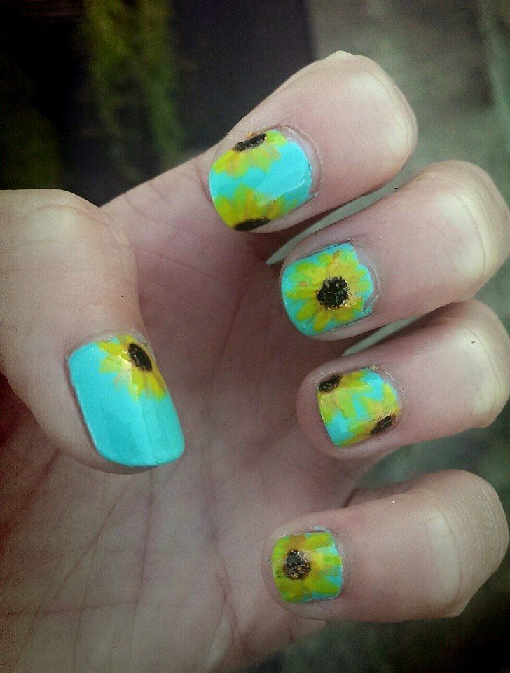 88 #Amazing #Sunflower #Nail #Art #Design For This #Summer