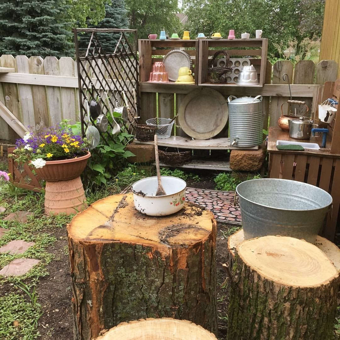 Mud kitchen table and chairs logs outdoor play preschool