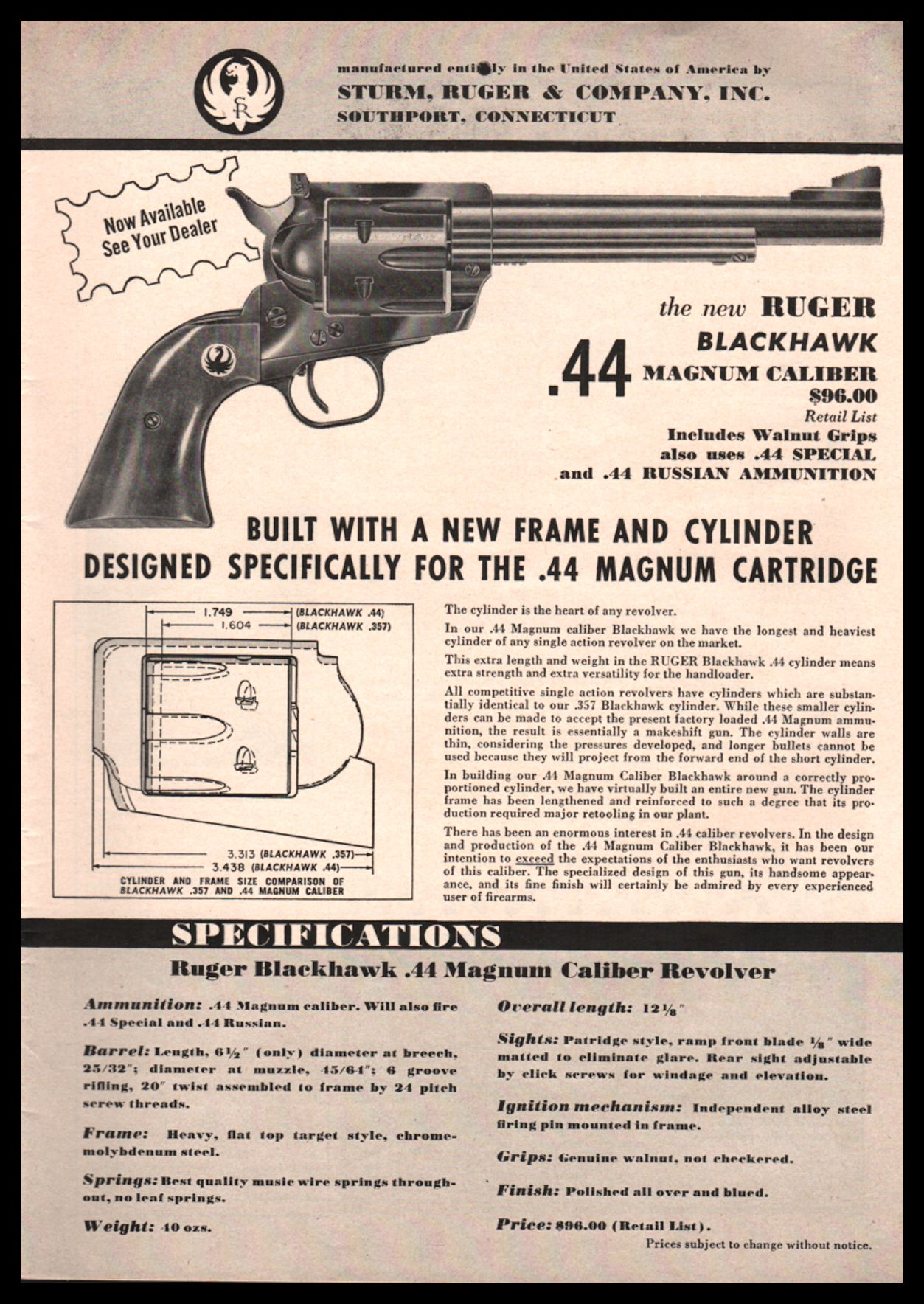 1956 RUGER Blackhawk  44 Magnum Revolver PRINT AD : Other