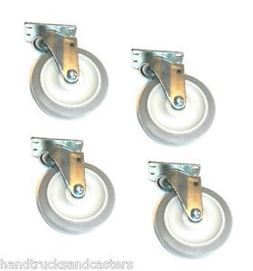 4 Swivel Casters With 5 X 1 1 4 Gray Soft Rubber Wheel 275 Cap 2 5156 545x4 Ebay Swivel Casters Casters Soft Rubber