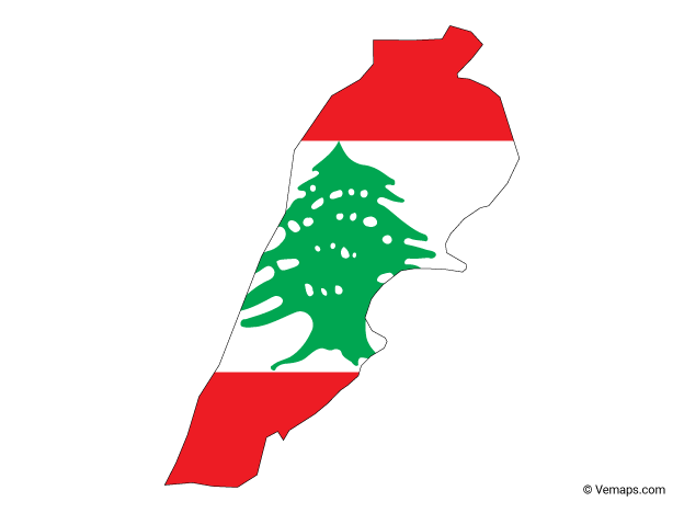 Flag Map Of Lebanon Free Vector Maps Map Vector Vector Free Map