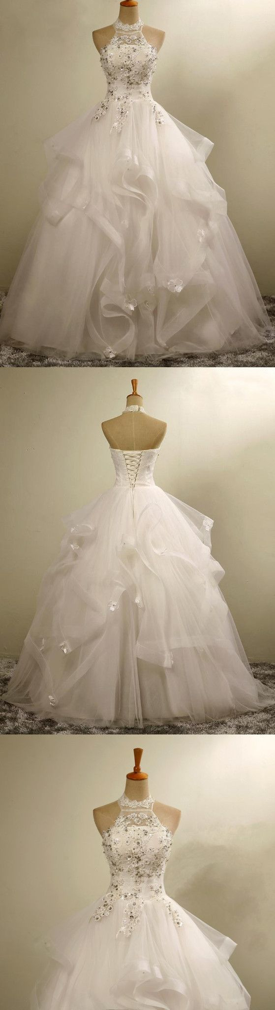 Prom Dresses Ball Gown, High Neck Elegant Gorgeous Charming Lace Appliques Organza Wedding Dresses