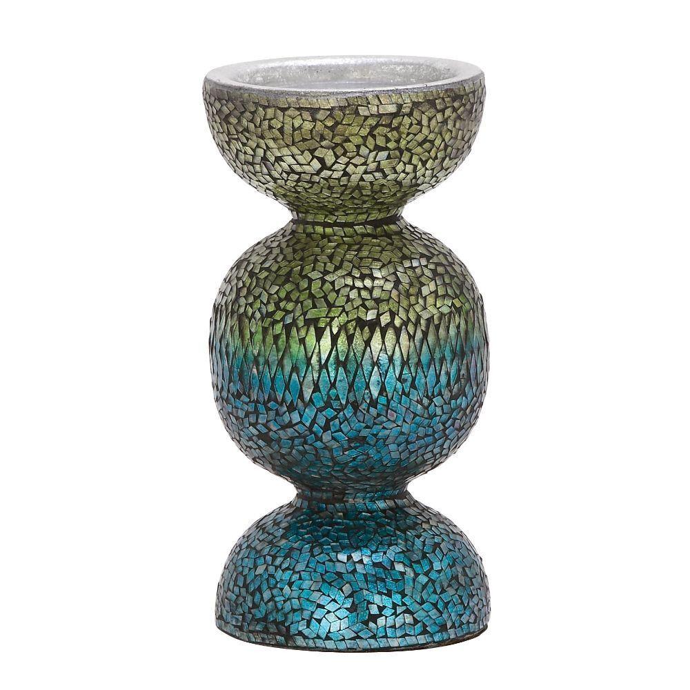 Metal mosaic candle holder