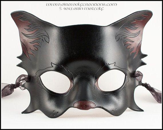 Black Kitty Cat leather mask handmade Halloween costume