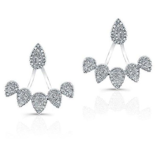 14kt White Gold Diamond Tiara Floating Earring 1 709 Liked On Polyvore Featuring Jewelry