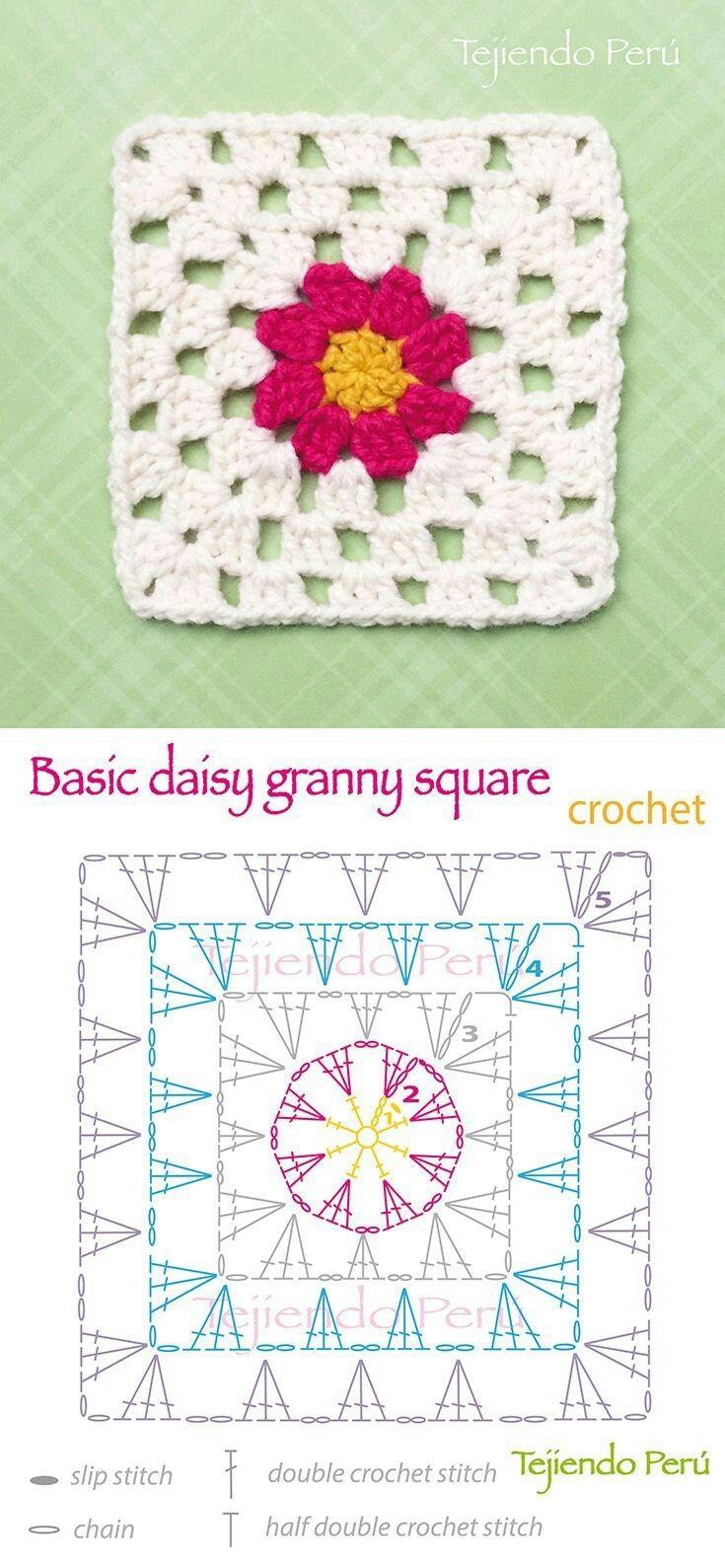 Pin de Gloria Amparo Burgos en Crochet | Pinterest | Cuadrados ...