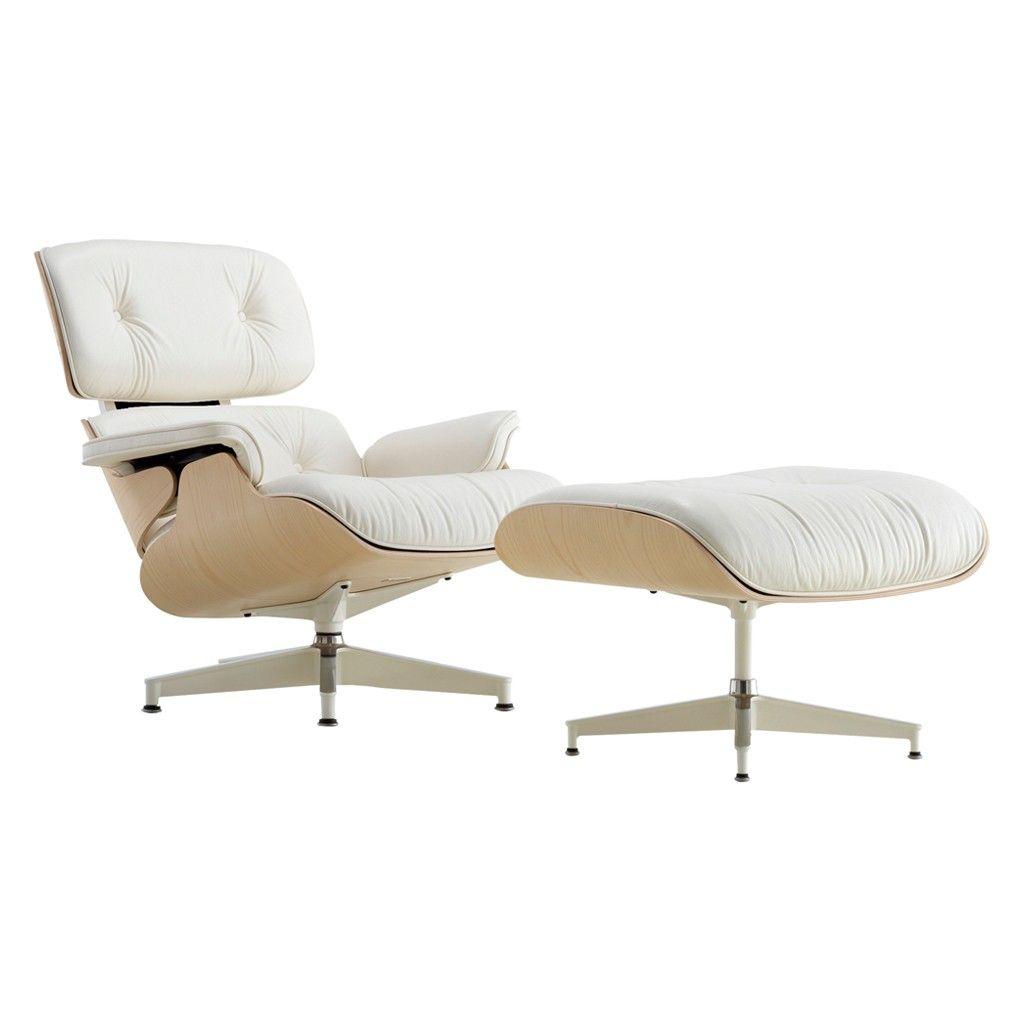Classic Eames Lounge Chair U0026 Ottoman White Leather U0026 Walnut Frame