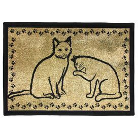 PB Paws & Co. Gold & Black Kitty Pals Tapestry  Indoor/Outdoor Area Rug by Park B Smith Ltd get it at Wayfair.com
