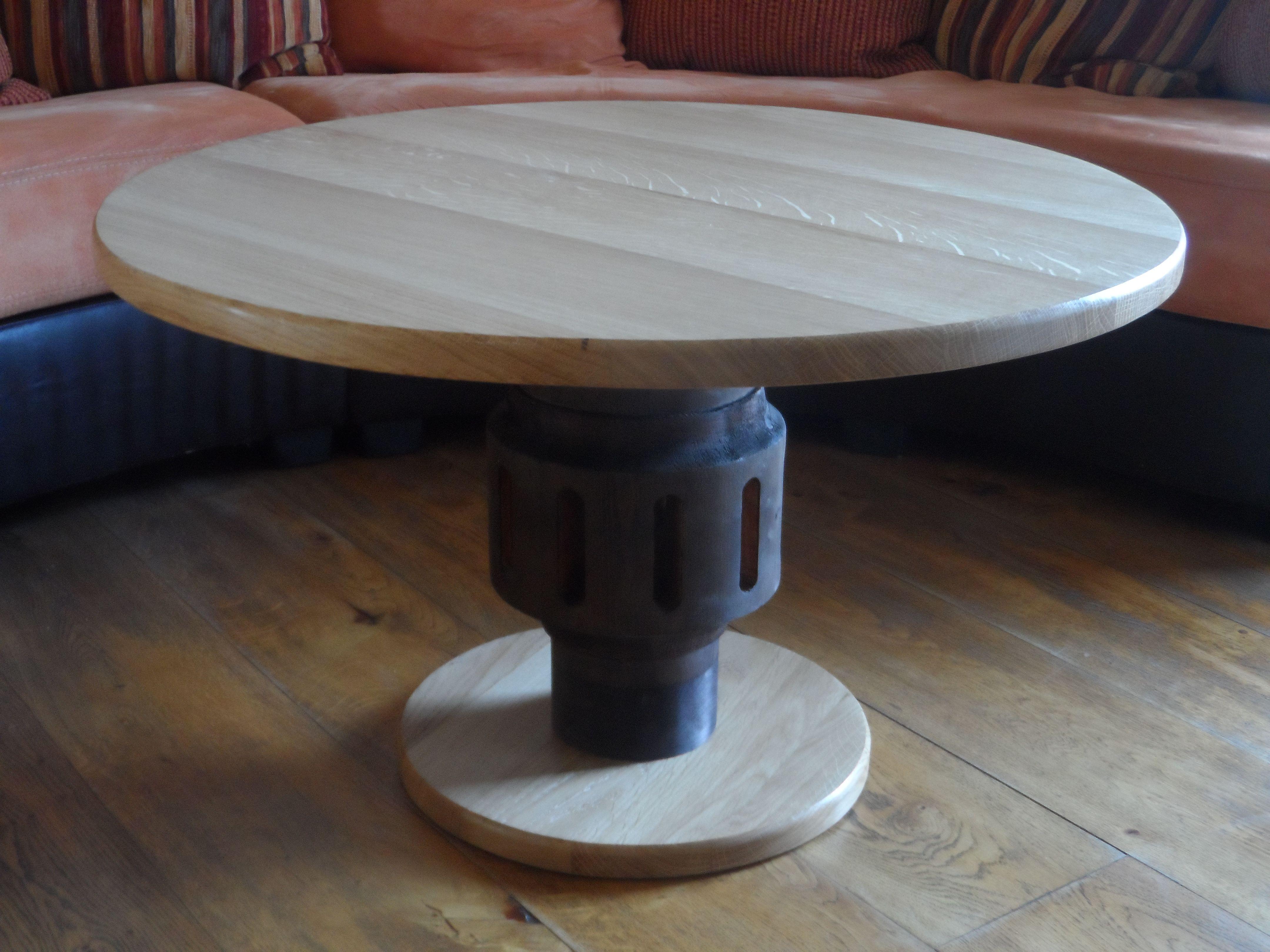 Table de salon en ch ne massif plateaux et sapin pied r alis partir d - Table chene pied metal ...