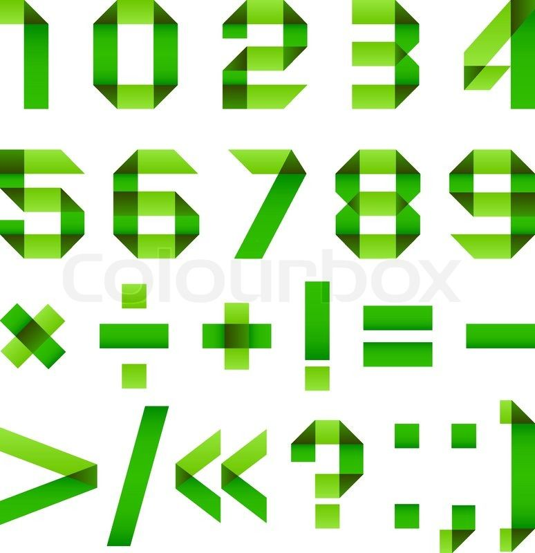 Font folded from green paper - Arabic numerals | Vector | Colourbox