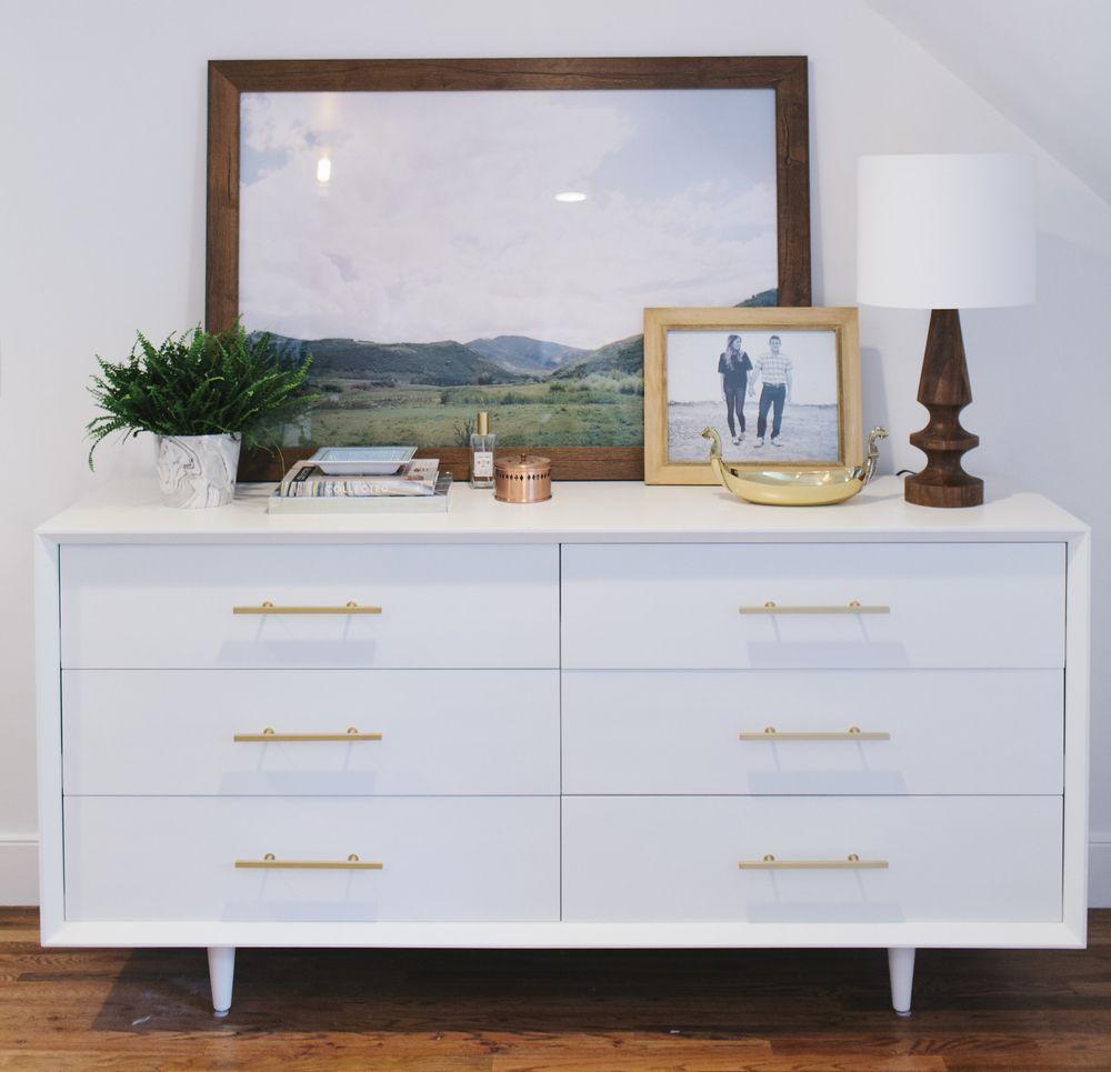 lynwood remodel: master bedroom and bath | copper, large prints