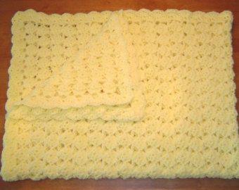Amarillo Pastel hecho a mano del ganchillo del bebé manta afgana