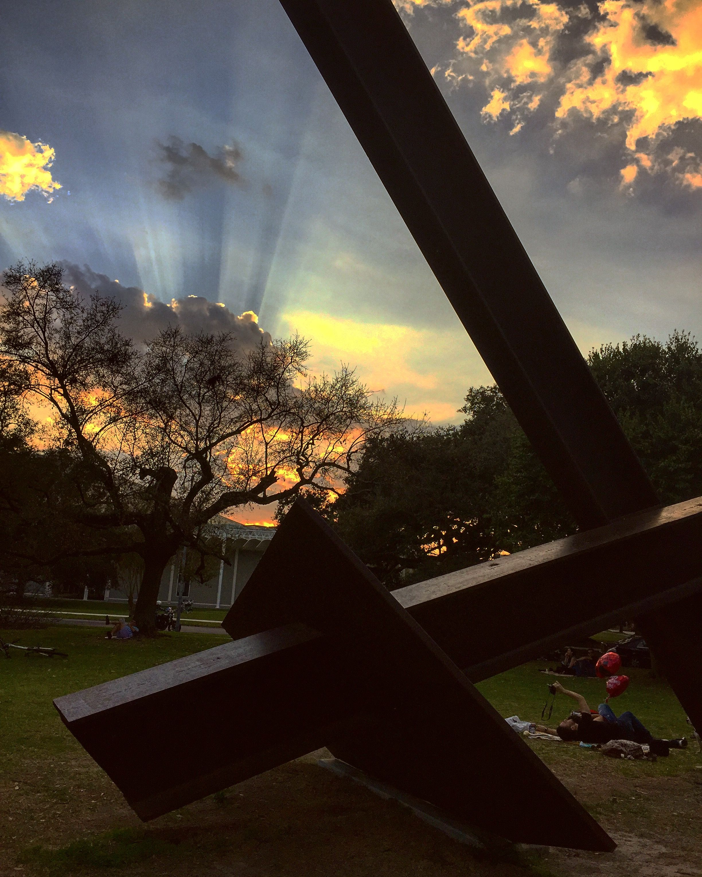 Shot this at the Menil Collection on before Valentines day. A lot of people were here enjoying this beautiful day. I managed to snap a couple doing a selfie while I shot the sunset.
