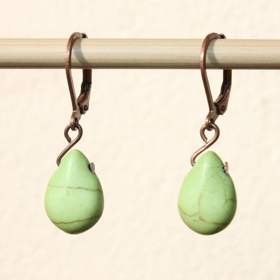 Green Earrings Turquoise Dangle Drop Howlite Small Jewelry