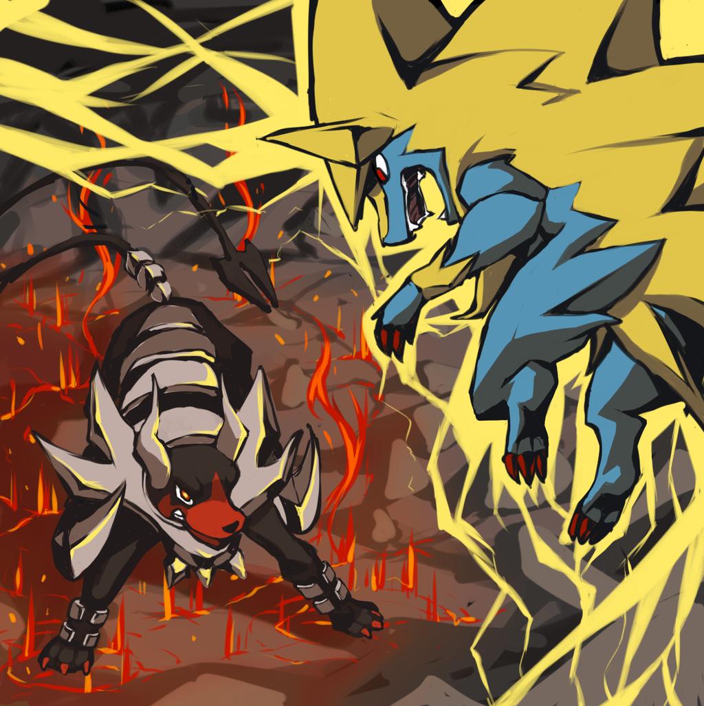 Pyroar intimidating manectric