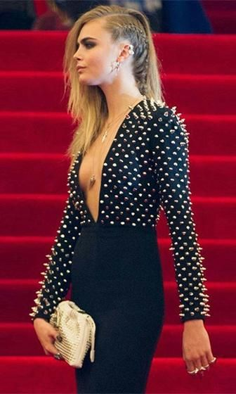 Photo of Point Blank Black Silver Spike Stud Long Sleeve Plunge V Neck Bodycon Bandage Midi Dress – Inspired by Cara Delevingne