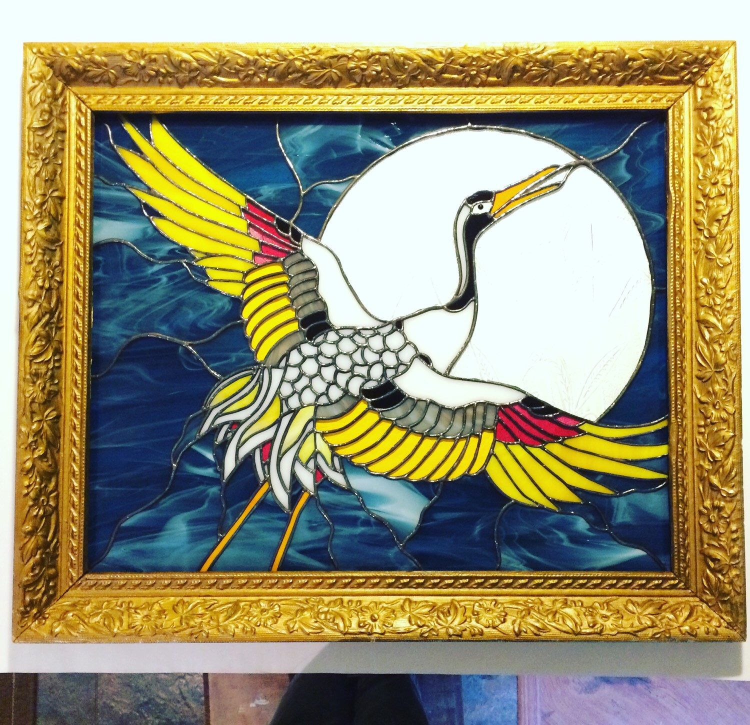 A personal favorite from my Etsy shop https://www.etsy.com/listing/257802752/japanese-crane-stained-glass-panel