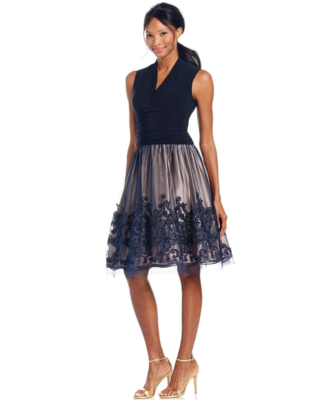 Sl sl fashion dresses - Sl Fashions Illusion Soutache Trim Party Dress