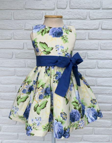 30b7819653 Vestido Festa Floral Azul Royal Lindo vestido de Festa para sua Princesa! -  Tecido 100
