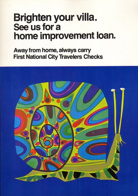 David Klein snail ad in cut acetate for a late '60s campaign by First National City Bank of New York
