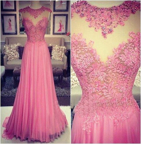 Lace Prom Dresses,Pink Prom Dress,Modest Prom Gown,A Line Prom Gown,Lace Evening Dress,Beaded Evening Gowns,2016 New Fashion Party Gowns