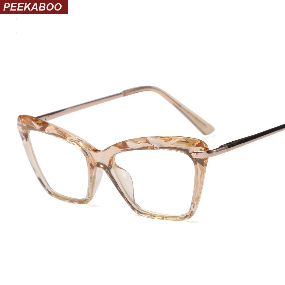 da42e607870  8.56 Peekaboo cat eye transparent glasses frame for women designer pink  brown black 2018 fashion eyeglasses