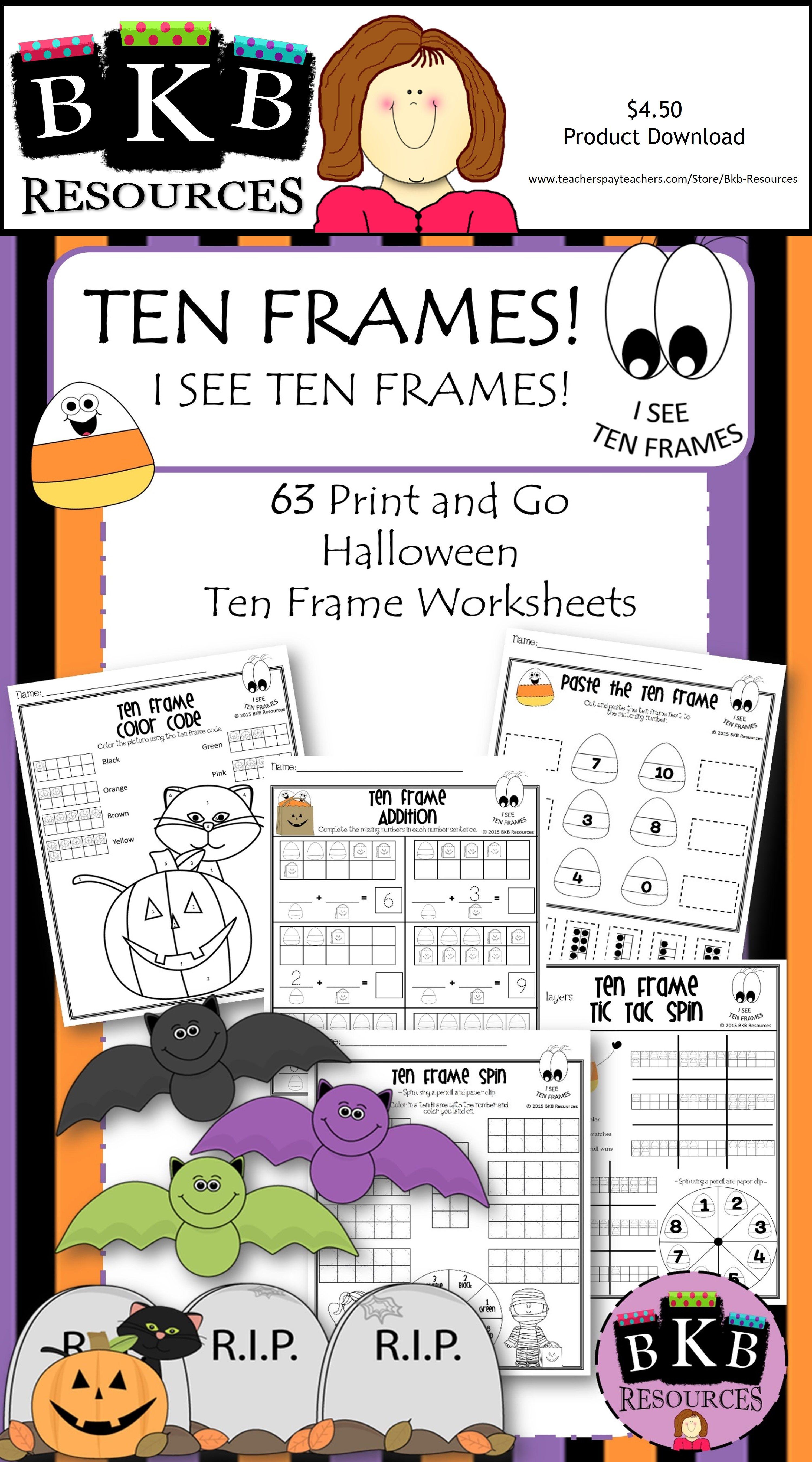 Halloween Ten Frames Halloween Activities No Prep