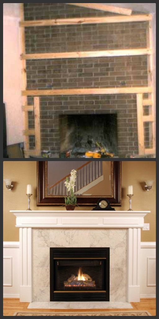 Update your fireplace Brick fireplace redo, Fireplace
