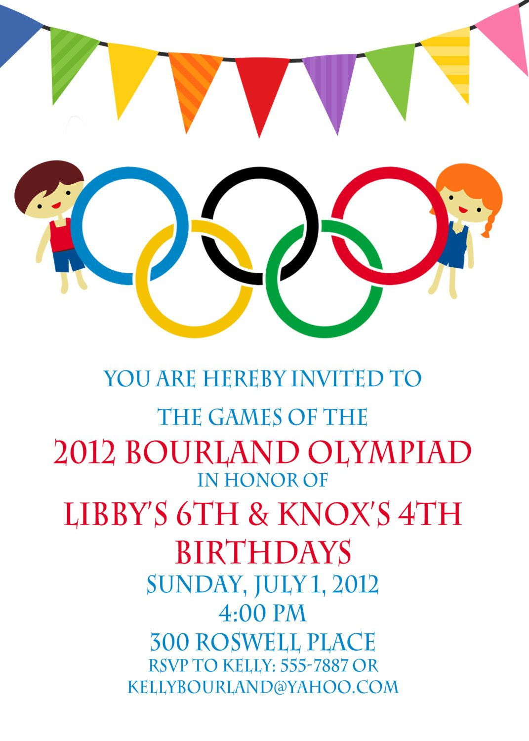 Olympic Party invitation- Olympics Birthday Invitation- Digial ...