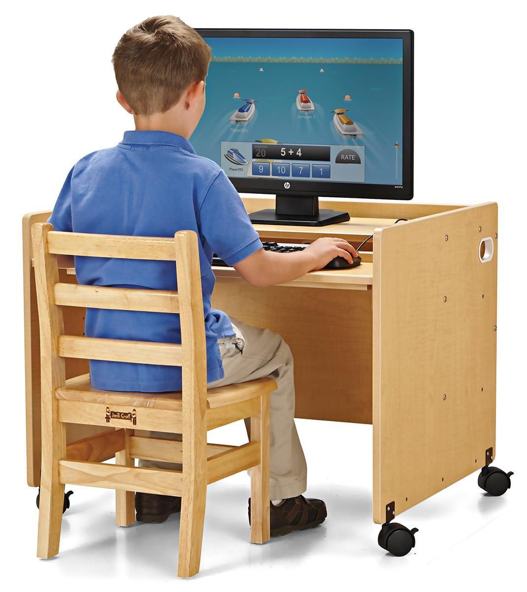 Single Children S Desk W Wheels Jonti Craft Height Adjustable Shelf Natural Adjustable Shelving Kids Computer Single Child