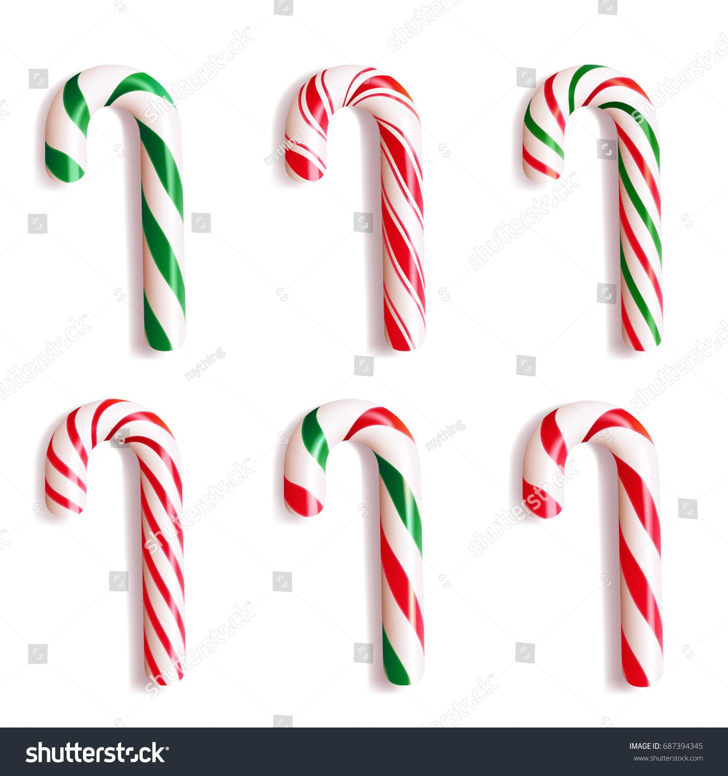 Set of realistic christmas candy cane. Vector illustration
