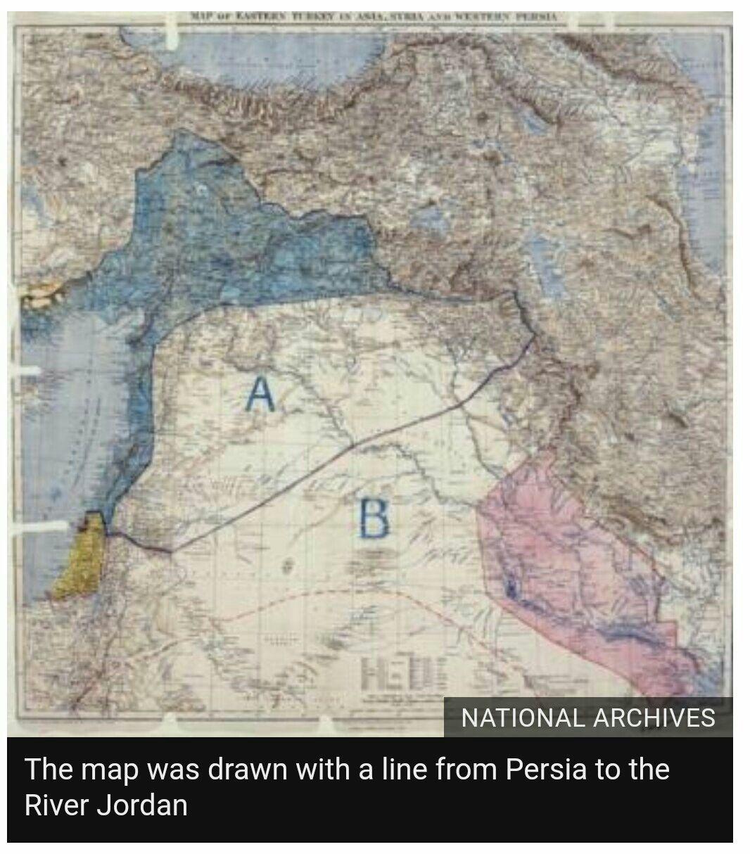 Mappa dellu0027accordo Sykes Picot 9 maggio 1916