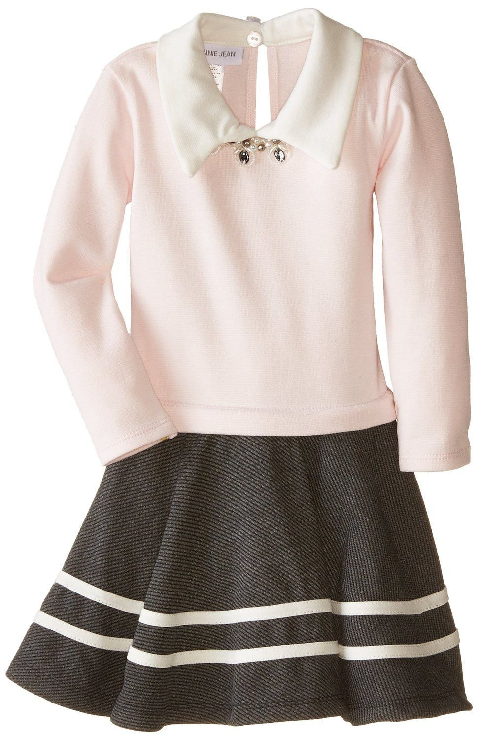 Pink sweater dress outfit  Bonnie Jean Little Girls Sweater Dress  Ribbed Knit to Twill Shirt