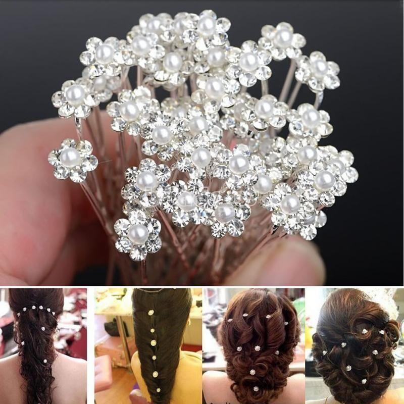 20pcs Fashion Wedding Bridal Flower Crystal Diamond Hair Pins Clips Bridesmaid