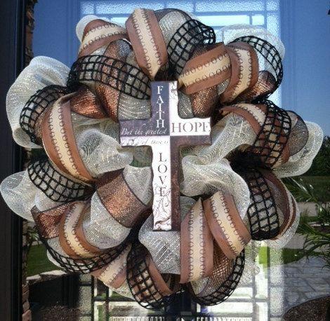 Faith Hope and Love Cross deco mesh Wreath. $75.00, via Etsy.