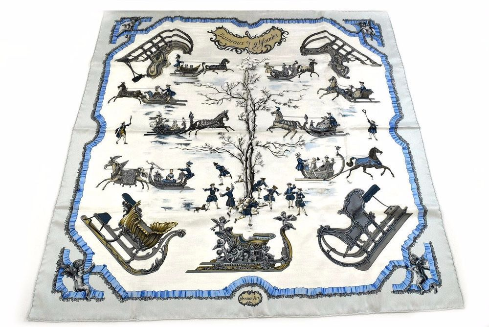 Auth Excellent HERMES Scarf 100%Silk Traineaux et glifsades Light Blue Box 22910 #HERMES #Scarf