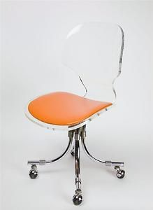 Fabulous 1960S Designer Lucite Office Chair On Wheels Beautiful Machost Co Dining Chair Design Ideas Machostcouk