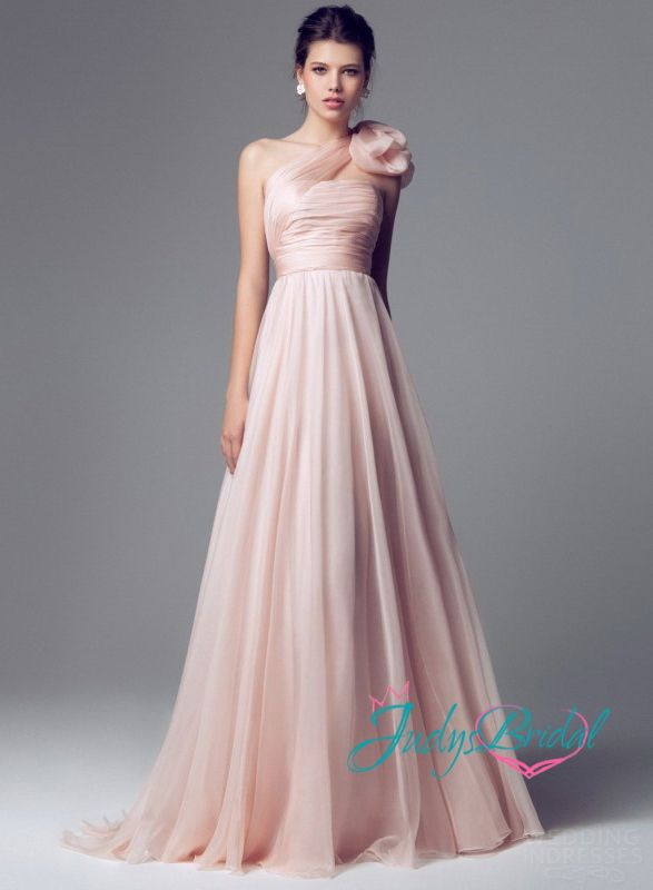 Rose Colored Wedding Dresses Jw14097 Peach Color One Shoulder Dness Flowy Dress