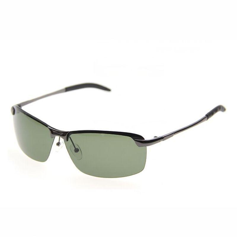 c0bdbcf0f5 Mens Rimless Sunglasses Metal Titanium Gun Grey Frame Polarized Rectangle  Green Lens