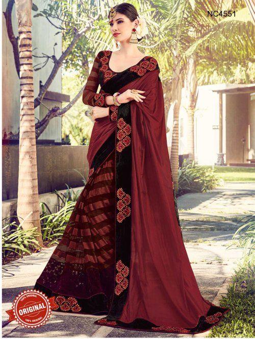 Maroon Semi Silk & Net Half & Half Saree