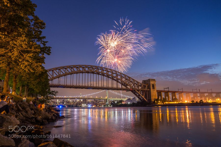 Fireworks over the Hellgate Bridge by Matthewchimeraphotography